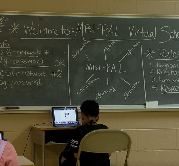 An in-person but socially-distanced space for children to learn virtually in Memphis (WREG Photo)