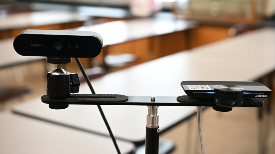 The cameras used to show the board or documents (left) and the front of the classroom (right) in Susquehanna Township High School (WHTM Photo)