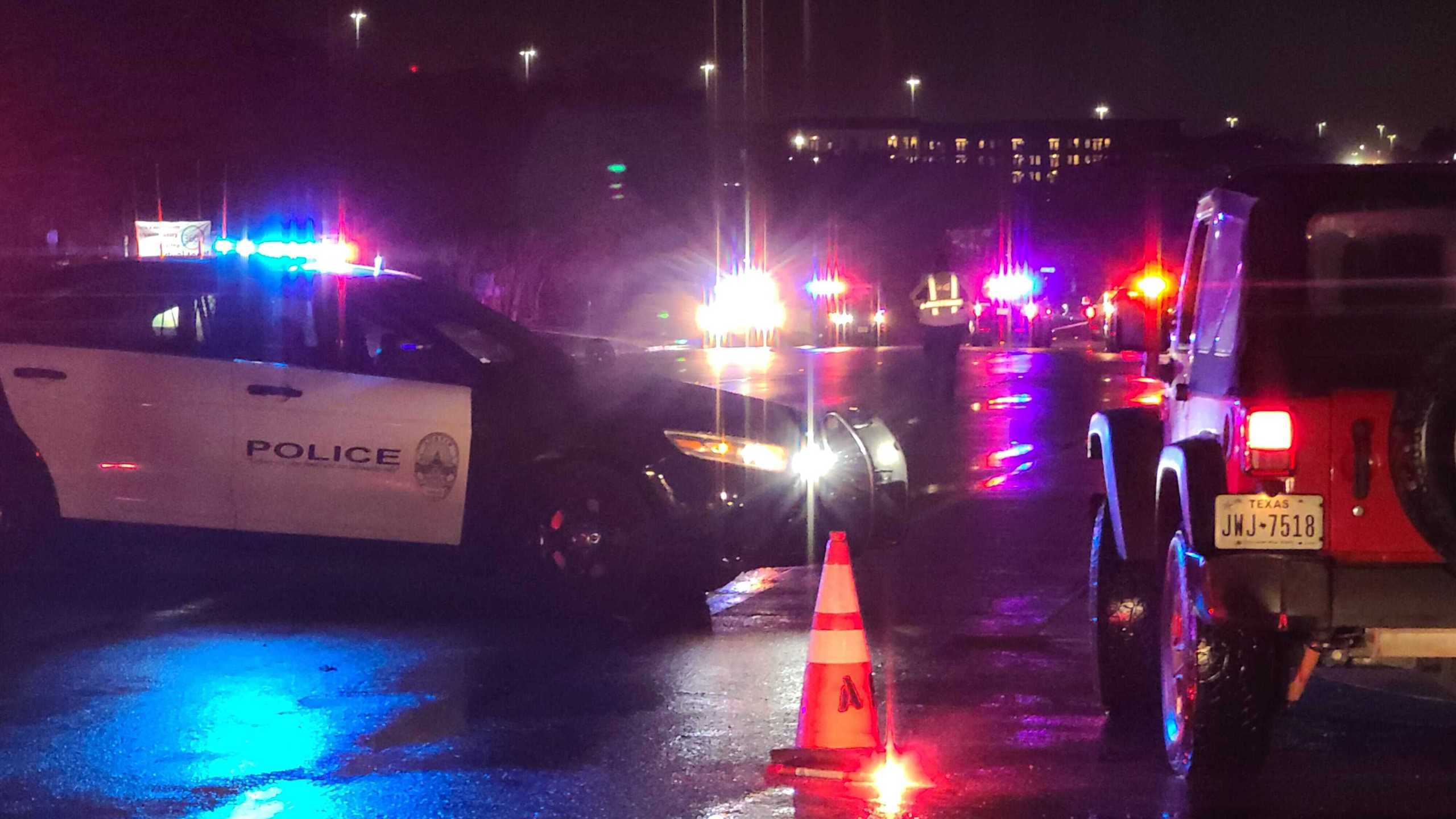 One person is dead after a crash involving a pedestrian on South Congress Avenue Wednesday night (KXAN Photo/Andrew Choat)