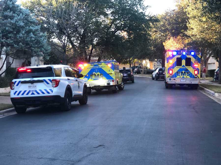EMS responds to deadly fall on trail behind homes at Circle C Dec. 7 (KXAN/Frank Martinez)