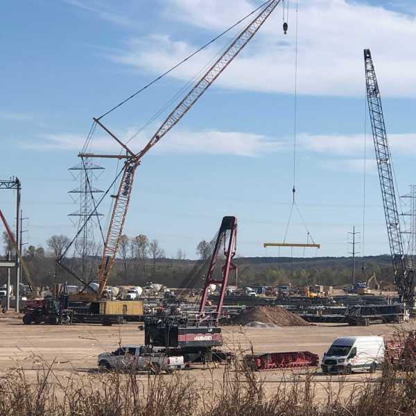 Construction at Tesla facility in Travis County Dec. 10 (KXAN/Frank Martinez)