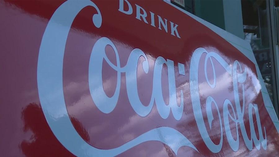 Coca-Cola sign at Nau's Enfield Drug (KXAN Photo/Jacqulyn Powell)