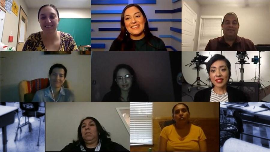 Carolyn Slavin, Chelsea Moreno, Juan Seda, Vanessa Lazón, Leticia Rivera Franco, Maribel Tapia, Elva Franco and Miriam Cordova Esquivel (KXAN Foto)