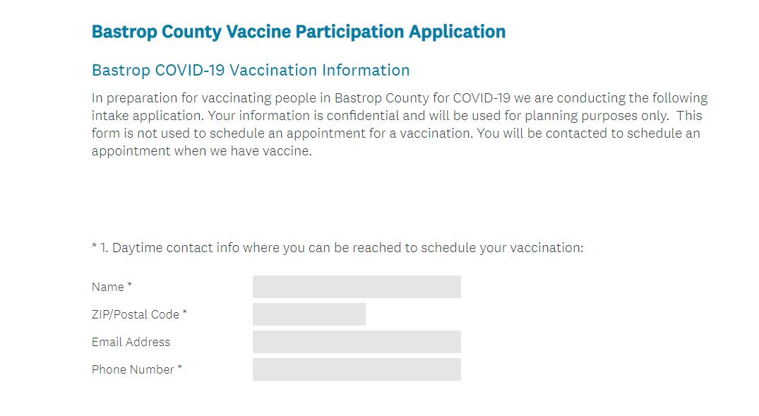 Bastrop County pre-registration for COVID-19 vaccination waitlist