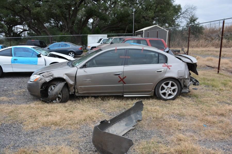 Jason Landry's crashed car (Caldwell County Sheriff's Office Photo)