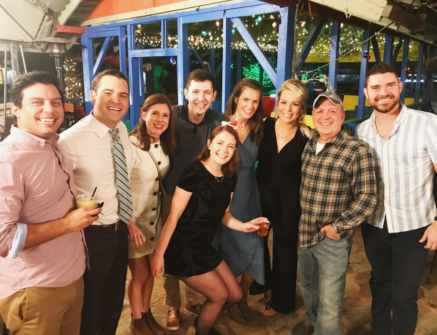 Jim and some of the KXAN family celebrate at the 2019 holiday party (KXAN Photo/Jim Spencer)
