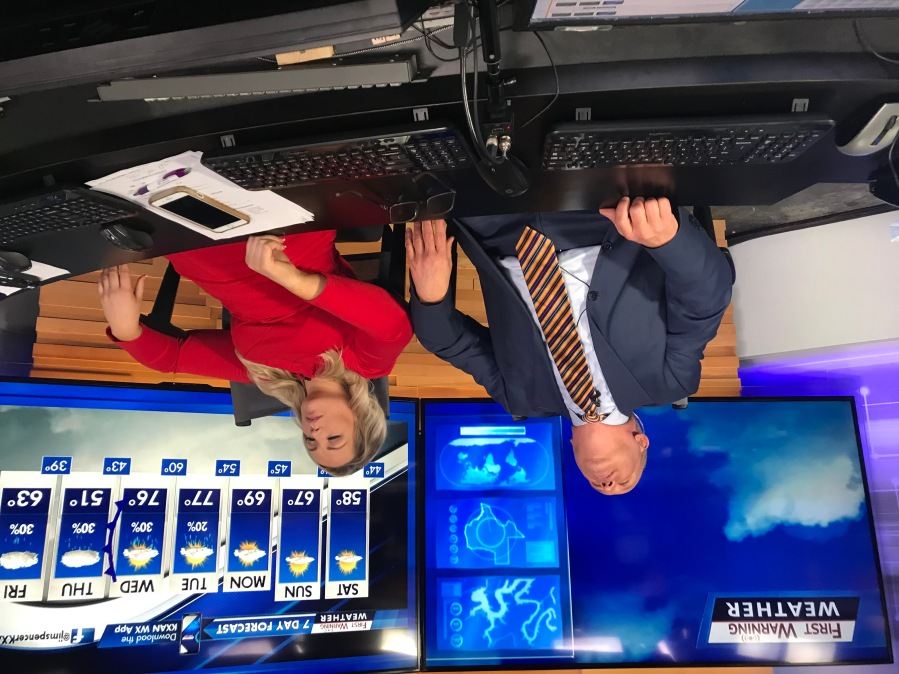 Jim Spencer and Kristen Currie are exhausted after covering severe weather but glad they could keep KXAN viewers informed (KXAN Photo/Jim Spencer)