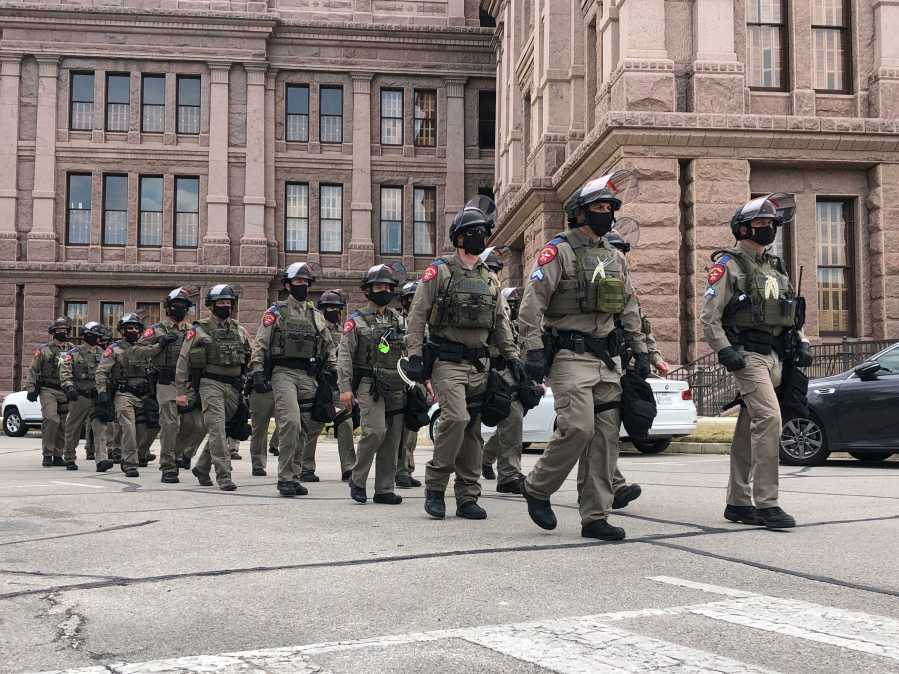 Texas DPS troopers patrol on the north side of the Texas State Capitol on the first day of the legislative session (KXAN/Frank Martinez)