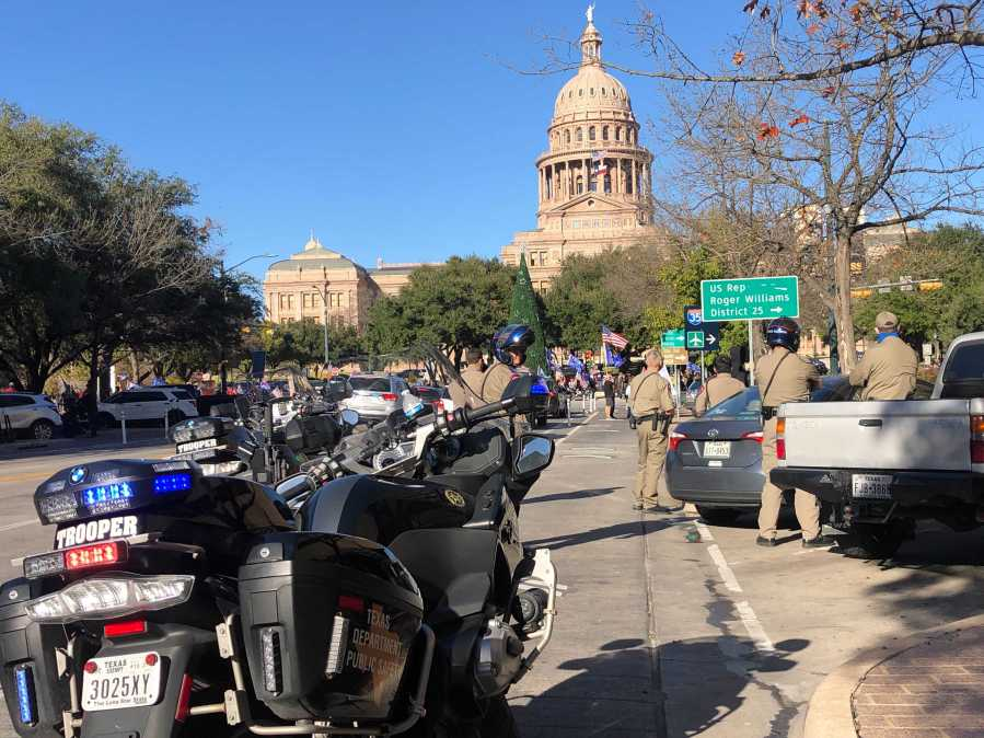 Members of the Texas Department of Public Safety at the Capitol during a protest Jan. 6, 2020 (KXAN Photo/Frank Martinez)