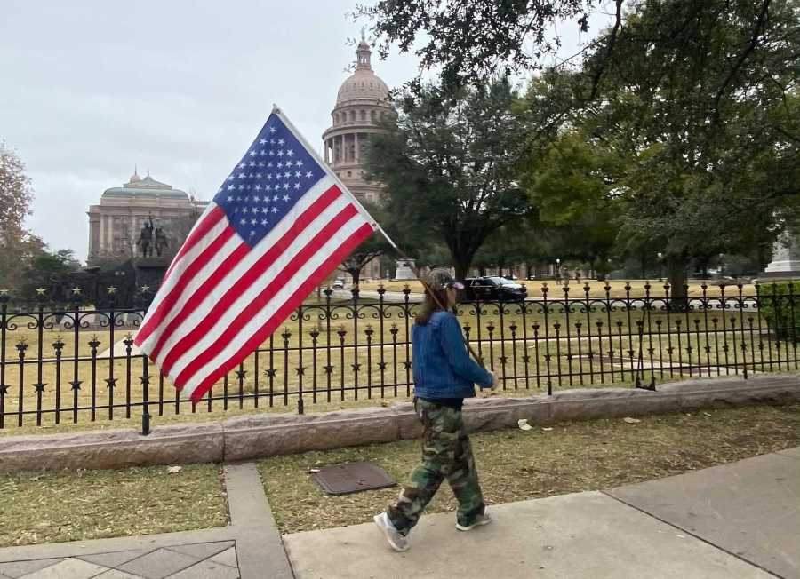 Only a few people showed up at the Texas Capitol early Wednesday afternoon to protest. (KXAN/Todd Bynum)