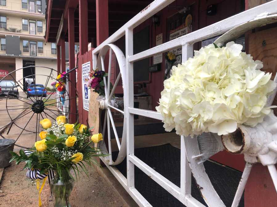Flowers outside of Broken Spoke - James White