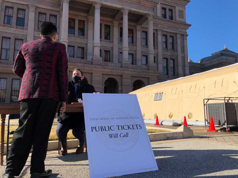 Will call for tickets to the Texas House of Representatives on Jan. 12, 2020, the first day of the 87th legislative session (KXAN Photo/Julie Karam)
