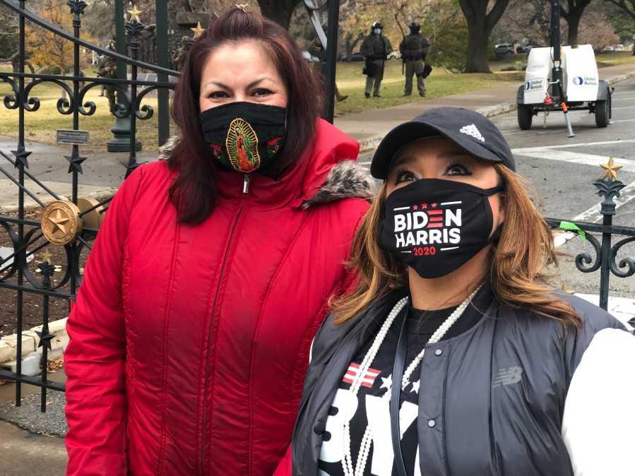 President Joe Biden and VP Kamala Harris supporters outside the Texas Capitol Jan. 20, 2021 (KXAN Photo/Julie Karam)