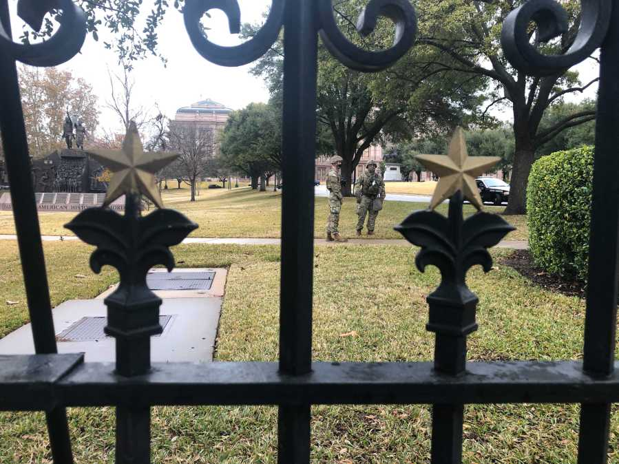 Security at the closed grounds of the Texas Capitol before 10 a.m. Jan. 20, 2021 (KXAN Photo/Julie Karam)