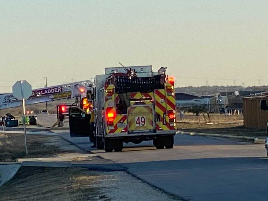 Crews respond to 40-acre brush fire just outside of Niederwald Friday (KXAN/Todd Bynum)