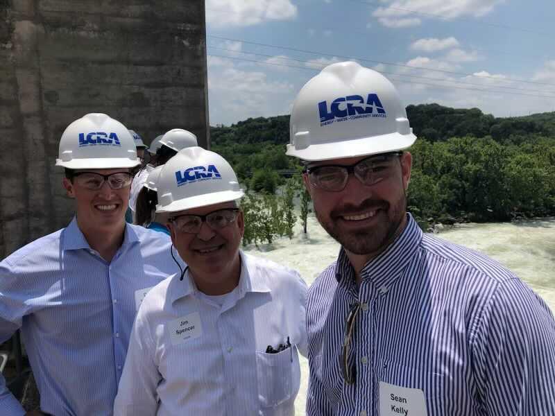 David Yeomans, Jim Spencer and Sean Kelly tour an LCRA site (KXAN Photo/Jim Spencer)