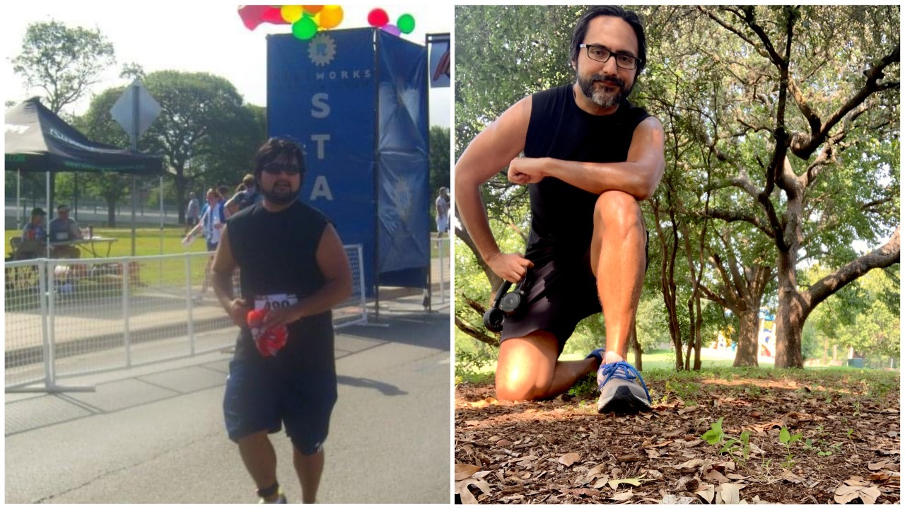 Jose Torres at a 5K near Lady Bird Lake in June 2010 (left) and after a 4 mile run on the east side of the trail near the lake in September 2020 (KXAN Photo/Jose Torres)