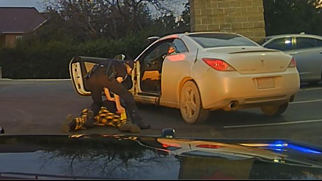 A New Braunfels Police officer used a stun gun to get a man into handcuffs during this January 2020 traffic stop that started over a dirty license plate. The man has filed a federal lawsuit alleging racial profiling against the officer, former chief and the city. (NBPD Dash Camera)