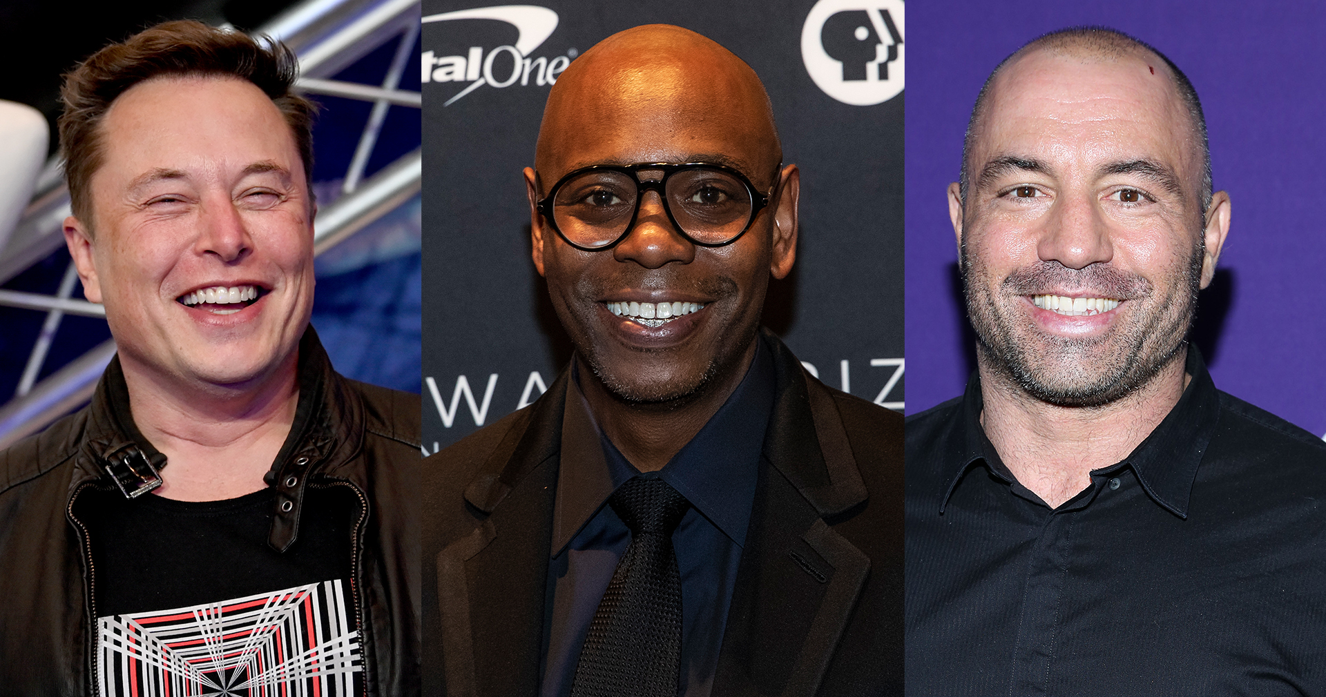 Elon Musk, Dave Chappelle and Joe Rogan (Getty Images)