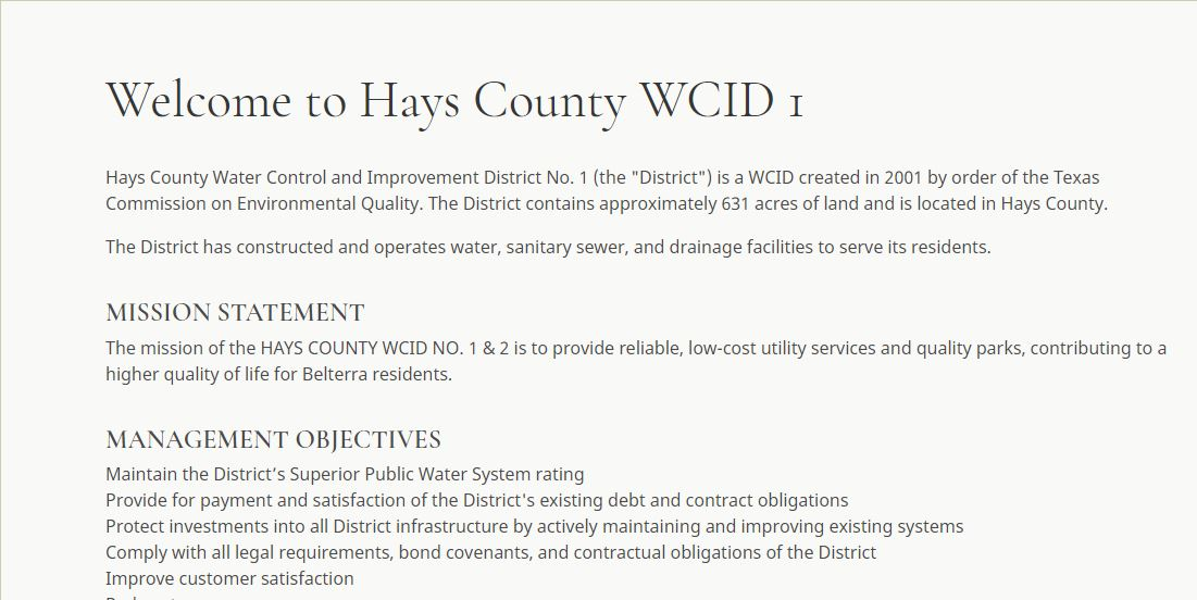 Hays County Water Control and Improvement District No. 1