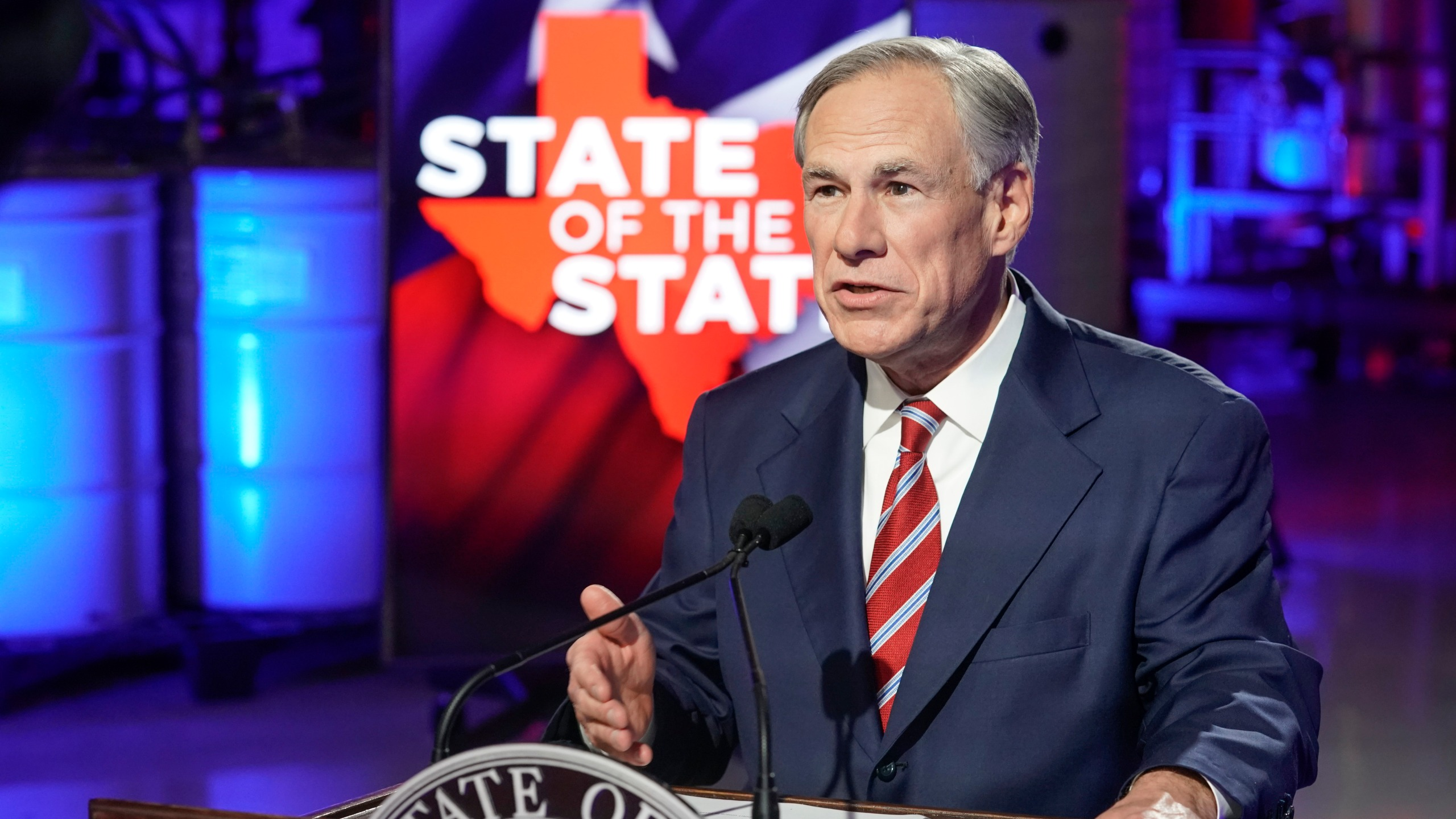 Texas Governor Greg Abbott prepares to deliver his State of the State speech at Visionary Fiber Technologies outside Lockhart, TX. Abbott is proposing expansion of telemedicine and increased broadband access for rural Texans among other policies. (Bob Daemmrich for Nexstar)