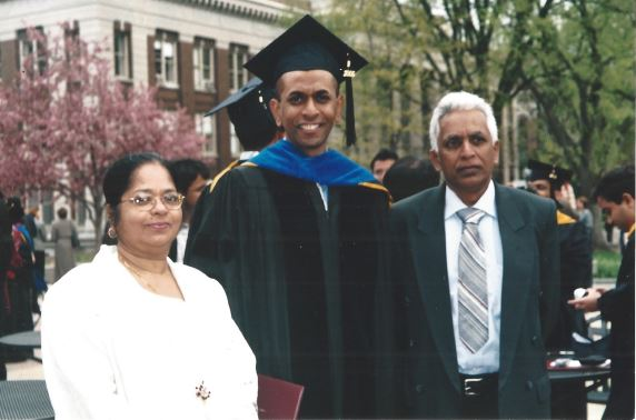 Dr. Mauris DeSilva pictured with his parents on his graduation day (From Lawsuit)