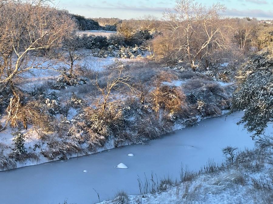 Frozen Barton Creek in Hays County Courtesy Kelly Morales