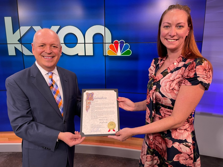 Inspired by Jim Spencer's commitment to the Austin community, City Council Member Mackenzie Kelly surprised Spencer at the KXAN studios Tuesday with the proclamation signed by Mayor Steve Adler.