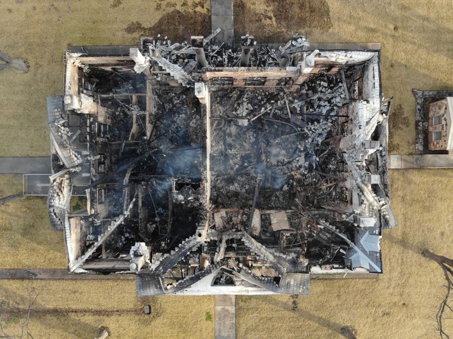 Photo from drone of Mason County Courthouse fire damage (Courtesy: Texas State Fire Marshal's Office)