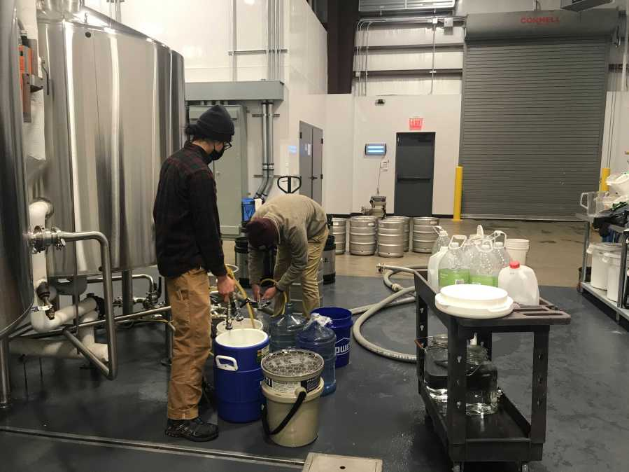 A local brewery provided water Feb. 18, 2021 (KXAN Photo/Tim Holcomb)
