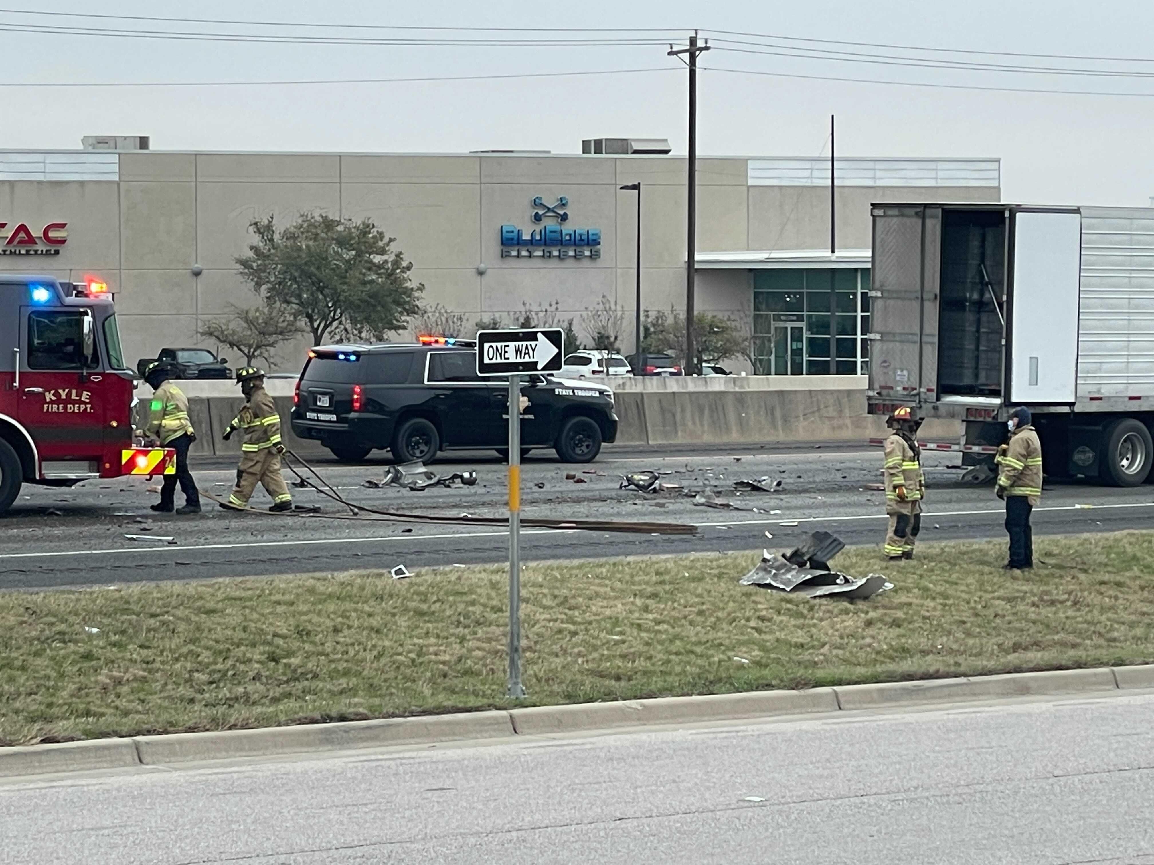 Two semis and a car were involved in a crash that shut down I-35 near Kyle Feb. 12, 2021 (KXAN Photo/Nick Bannin)