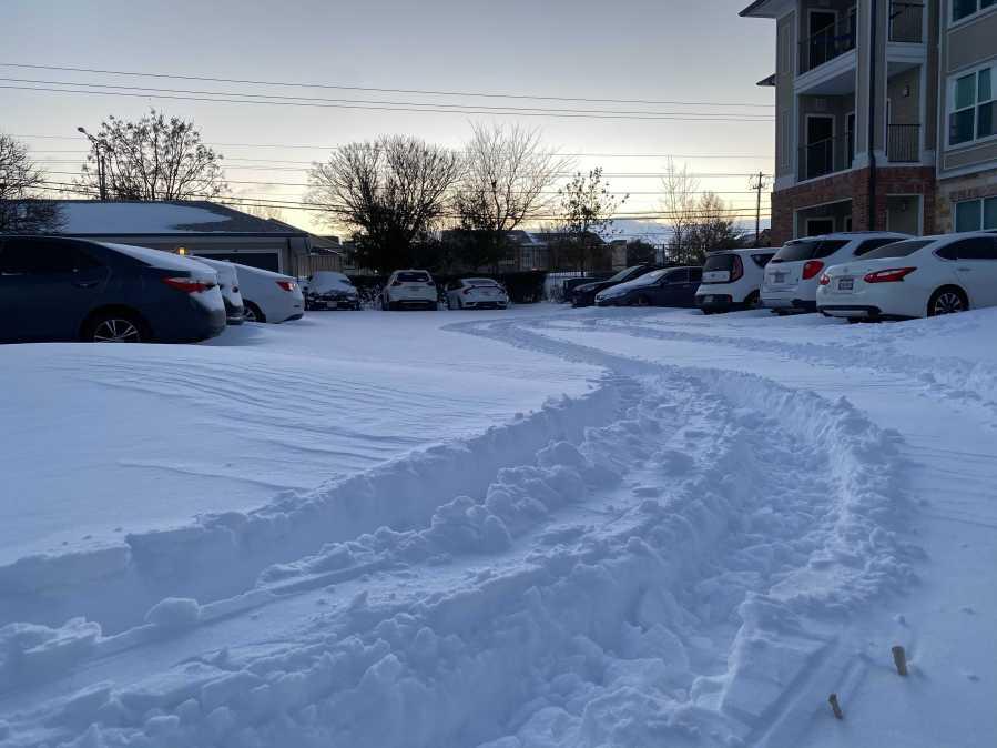 Snowy roads in south Austin KXAN Photo Todd Bailey