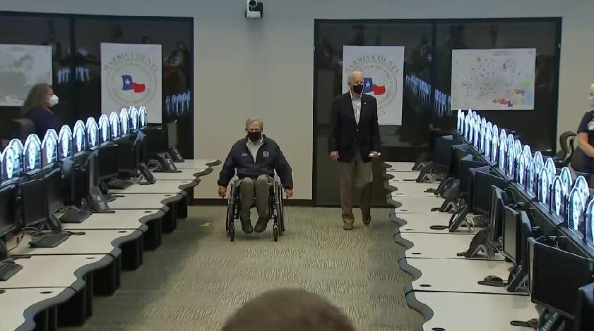 Gov, Greg Abbott and President Joe Biden in the Harris County Office of Emergency Management Feb. 26, 2021 (Pool Photo)