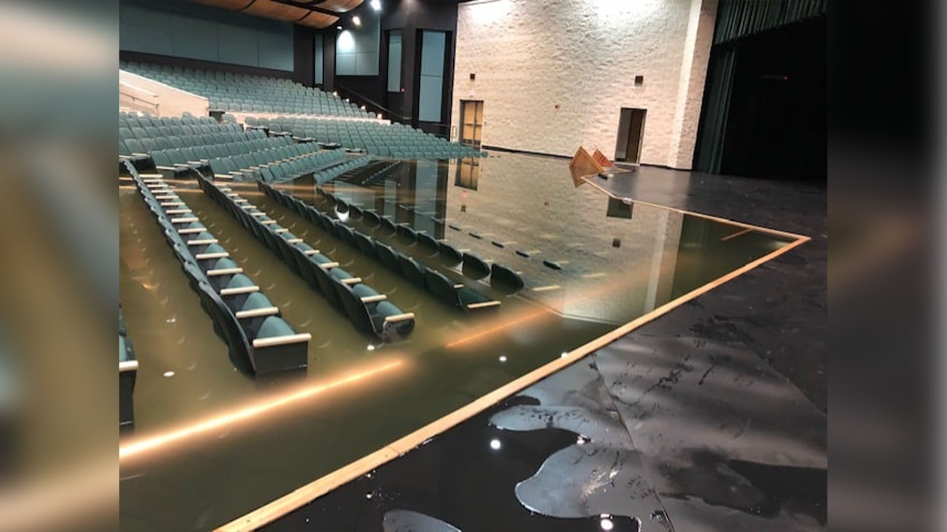 Burnet High School auditorium floods during severe winter storms (Burnet CISD Photo)