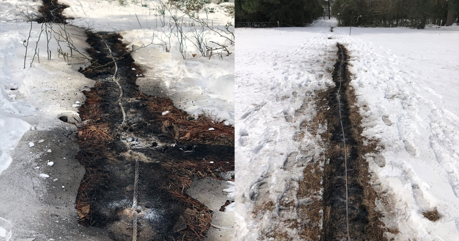An active, downed powerline in Bastrop shows why it's so important to stay away and call experts if you see a downed line (Courtesy Sydney Jacobs)