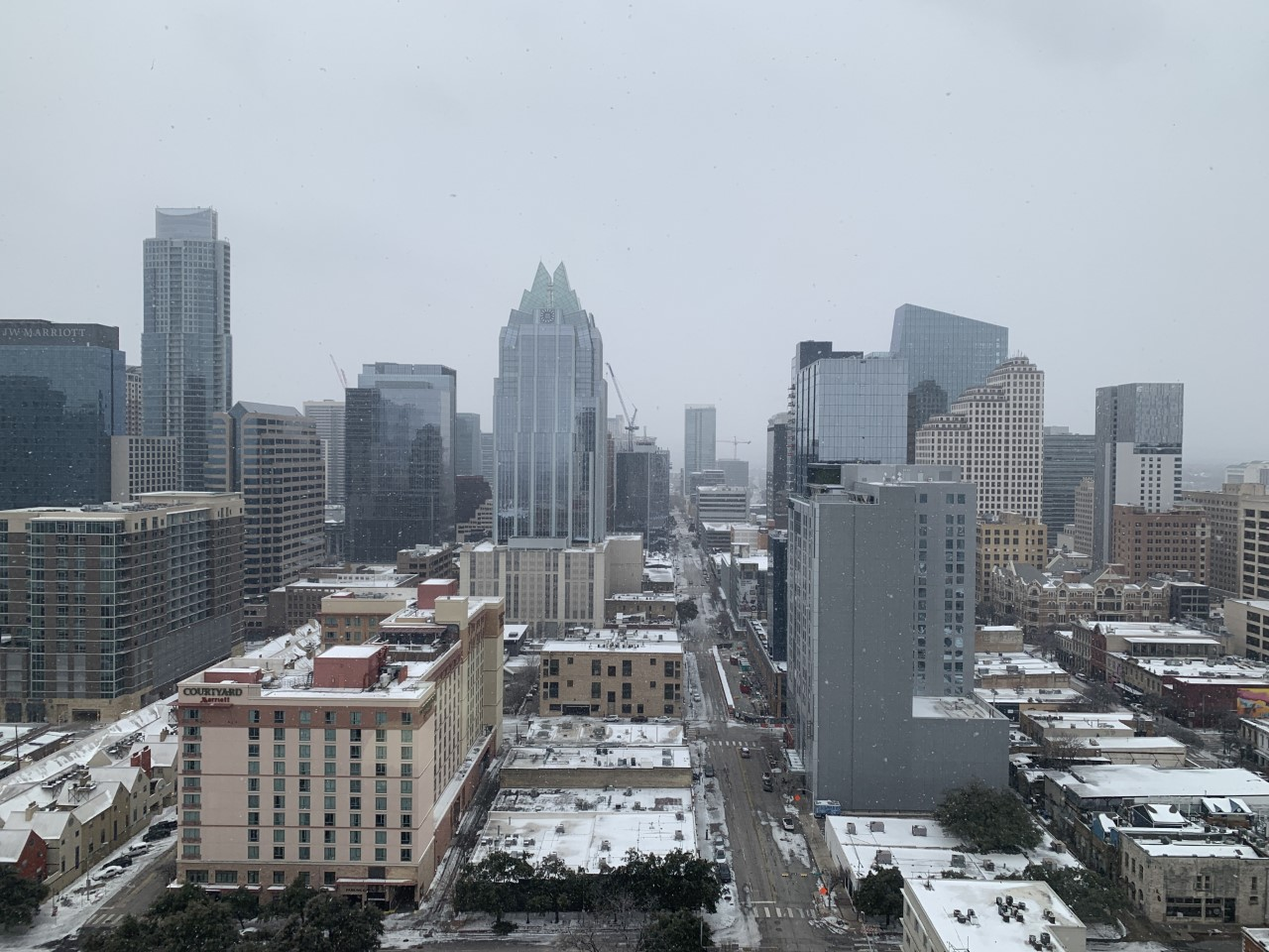 Snow in downtown Austin Feb. 18, 2021 (Courtesy Becky Faulk)