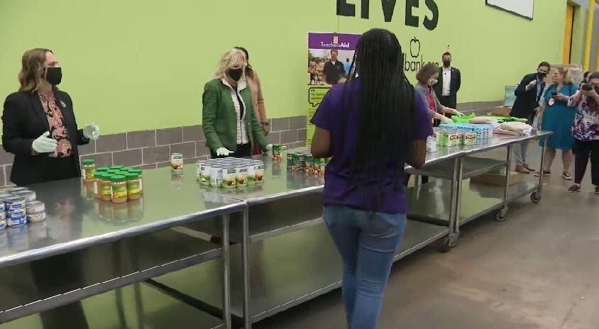 Dr. Jill Biden visits the Houston Food Bank Feb. 26, 2021 (Pool Photo)
