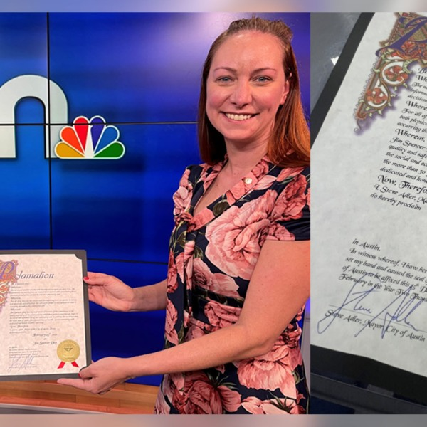 Austin City Council District 6 member Mackenzie Kelly surprised KXAN's own Jim Spencer with a proclamation designating February 25 as 'Jim Spencer Day.'