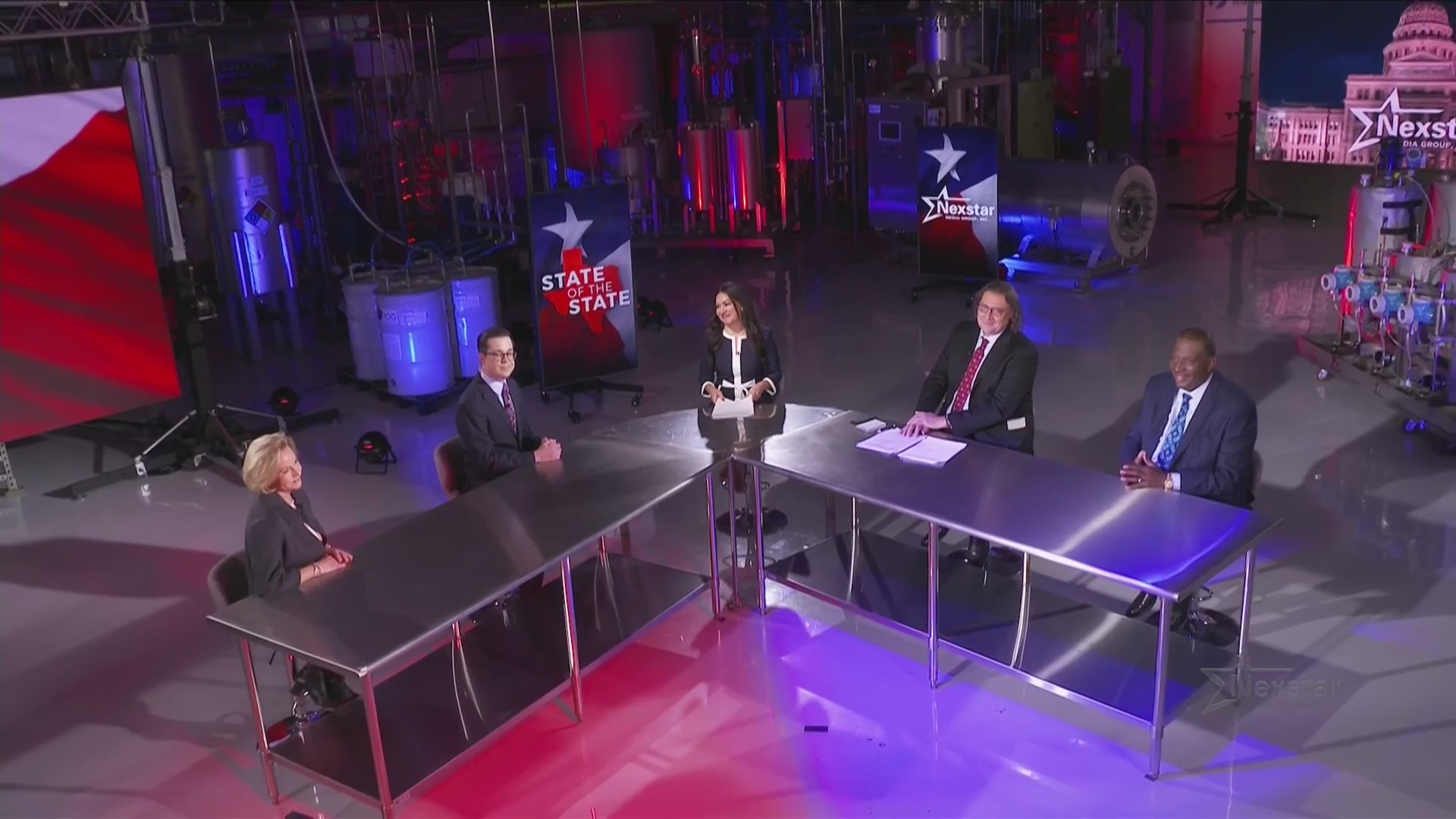 Rep. Geanie Morrison, State of Texas anchor Josh Hinkle, KXAN Anchor Sally Hernandez, Texas Politics Project director Jim Henson and Sen. Royce West gather for a roundtable discussion after Gov. Greg Abbott's State of the State Feb. 1, 2021 (KXAN Photo)