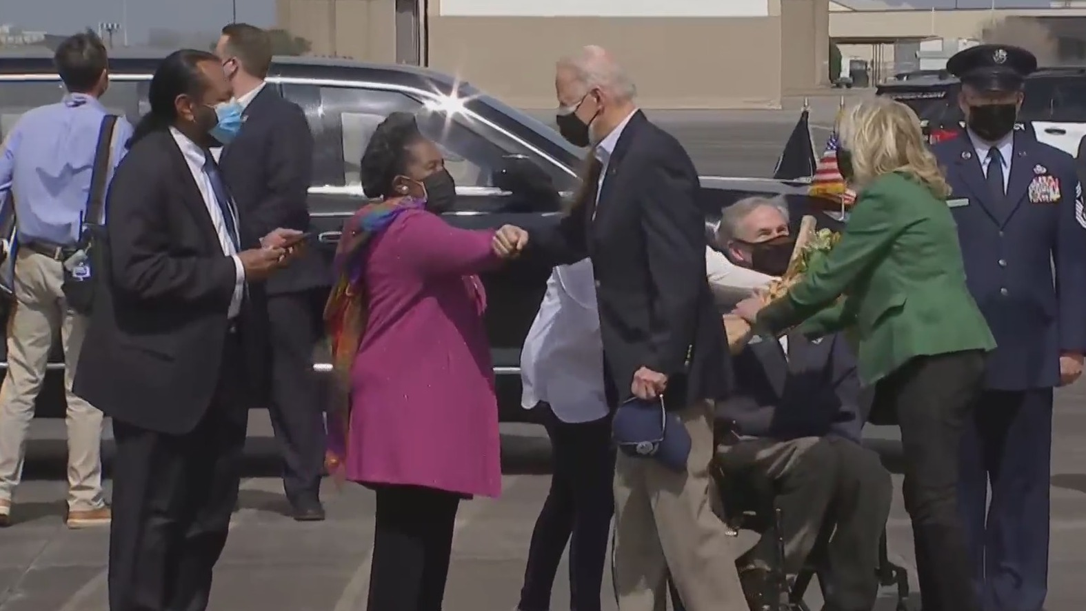 Rep. Sheila Jackson-Lee greets President Joe Biden after he lands in Houston Feb. 26, 2021 (Pool Photo)