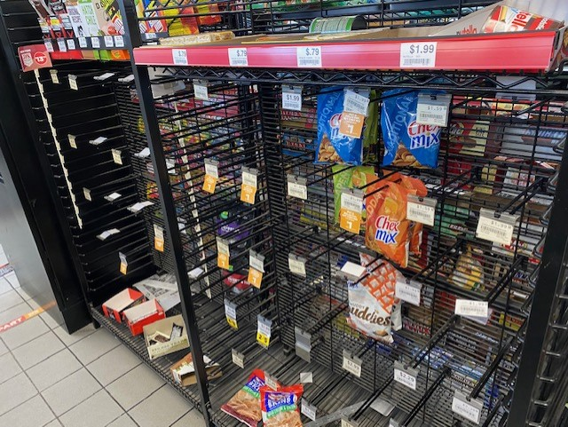 Shelves at a Valero gas station near Jollyville and Braker Feb. 16, 2021 (KXAN Photo/Haley Cihock)