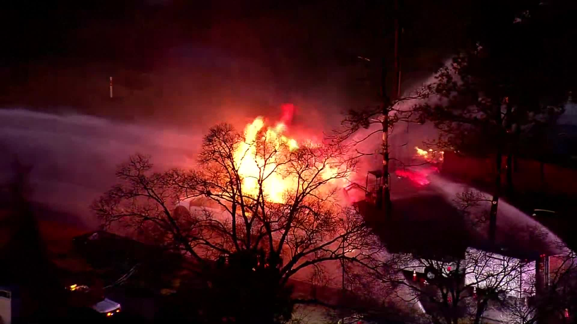 Several people were hurt following a large natural gas explosion and fire in a town less than an hour outside of Houston Friday night (KPRC Photo)