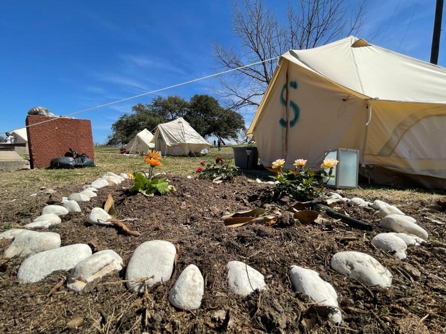 "Autonomous zone in east Austin's Rosewood Park, called ""Orisha Land"" (KXAN Photo/Richard Bowes)"