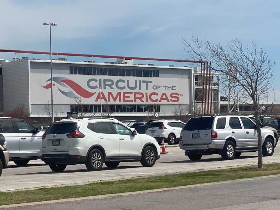 Drive-thru COVID-19 vaccine clinic at the Circuit of the Americas on March 5, 2021 (KXAN/Todd Bynum)