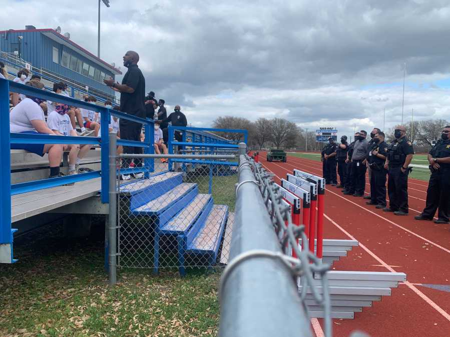 The nonprofit BamFam hosted a 'First Down Ride-Along' event at Hays High School March 9, 2021 to strengthen the community's bond with law enforcement (KXAN/Jala Washington)