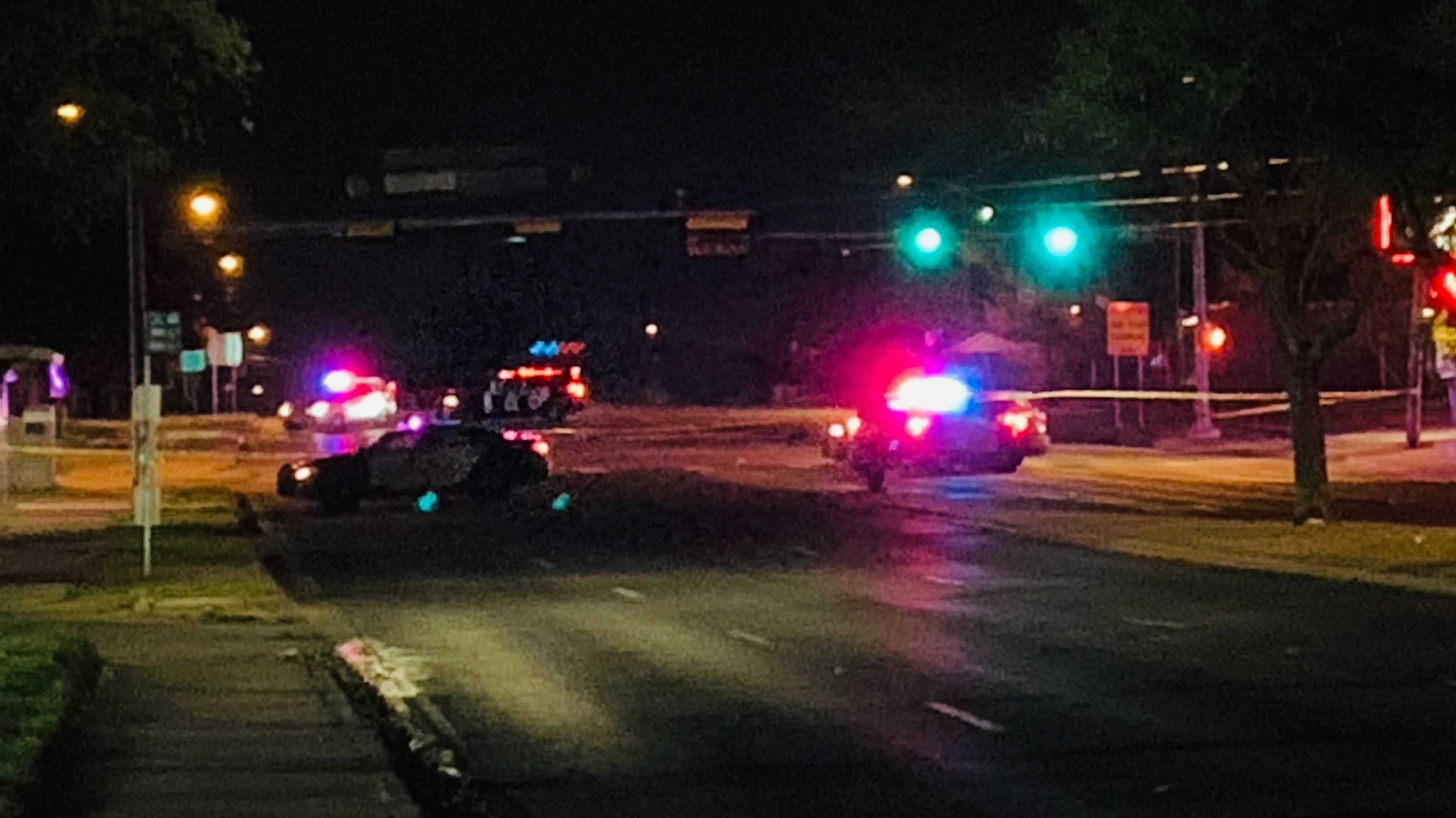 APD said a woman was killed after being hit by a car at the East St. Johns Avenue and Cameron Road intersection Thursday night (Andy Way/KXAN Photo)