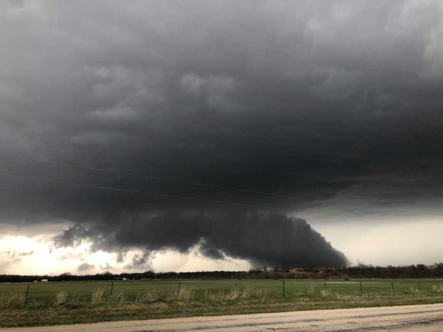 Lowering wall cloud in San Saba County as severe storms push through the area on March 24, 2021 (Gabe Cox/Tornado Trackers)