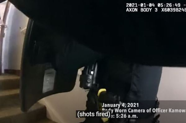 A still image of APD body camera video shortly before a suspect was shot Jan. 4, 2021 (APD Photo)