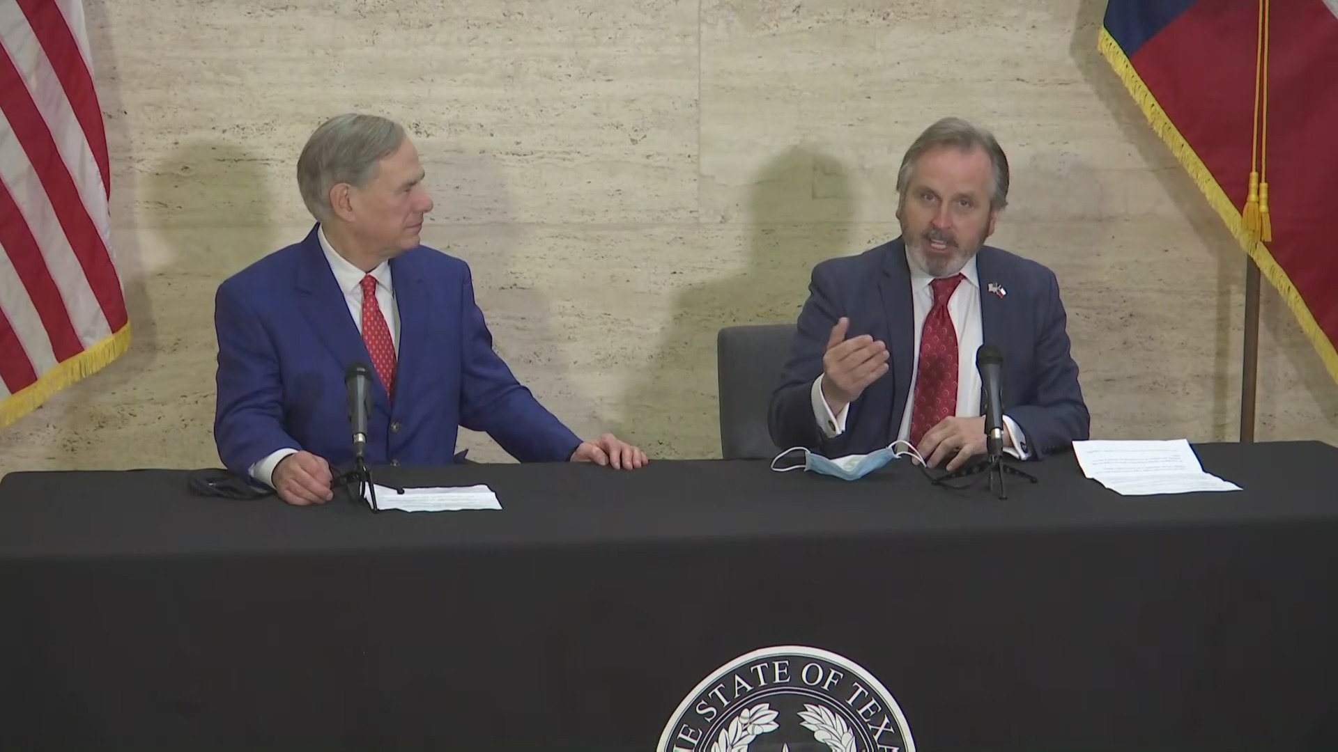 Gov. Greg Abbott and Sen. Bryan Hughes discuss a new social media bill March 5, 2021 in Tyler (KXAN Photo)