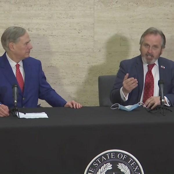 Gov. Greg Abbott and Sen. Bryan Hughes discuss a new social media bill March 5, 2021 in Tyler (KXAN Photo)